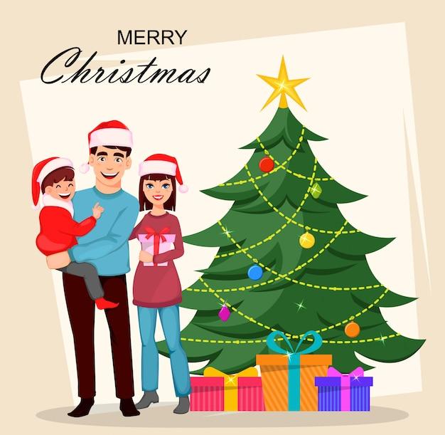 Christmas wenskaart met gelukkige familie.