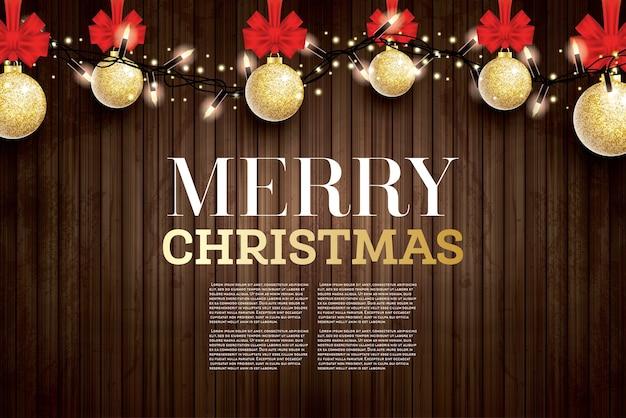 Christmas wenskaart met gouden glitter kerstbal