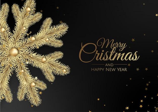 Christmas wenskaart met gouden sneeuwvlok