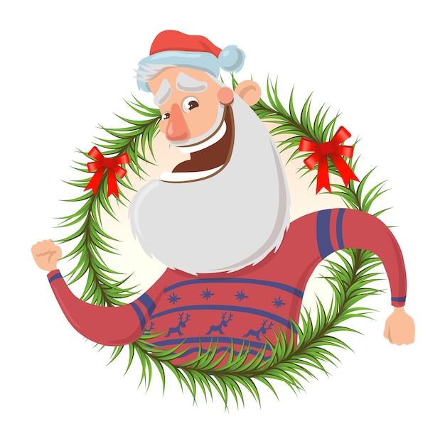 Christmas wenskaart met grappige santa claus glimlachend en zwaaiende hand. de kerstman begroet je in de kring van dennentakken. geïsoleerd op wit. rond ontwerpelement. cartoon karakter illustratie.