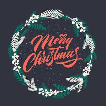 Christmas wenskaart met handgeschreven letters