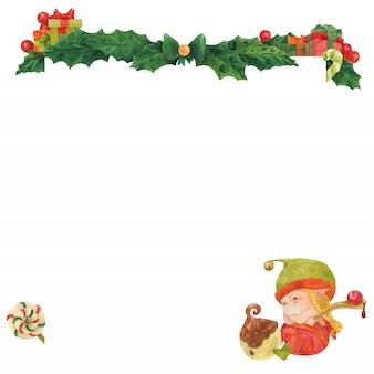 Christmas wenskaart met hulst en elf choclate kunstenaar