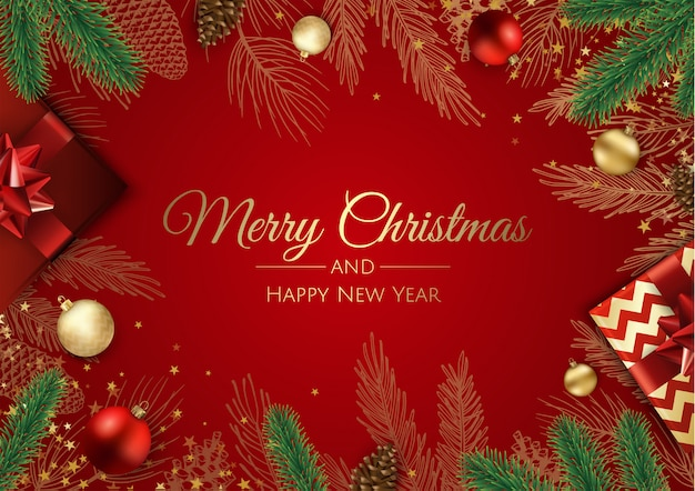 Christmas wenskaart met kerstboom decoraties