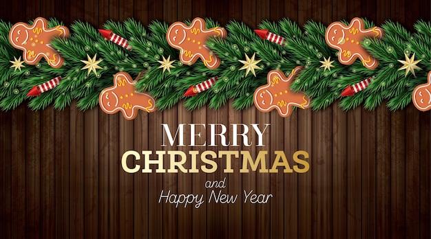 Christmas wenskaart met kerstboom takken, rode raketten en gingerbread man op houten achtergrond. vrolijk kerstfeest. gelukkig nieuwjaar. vector illustratie.
