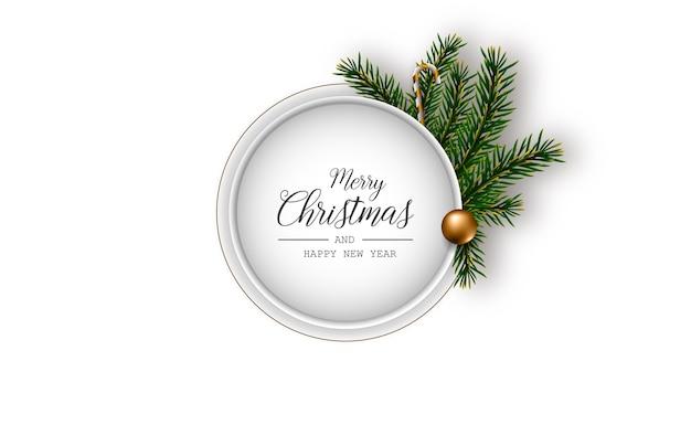 Christmas wenskaart met lichte realistische decoratieve elementen