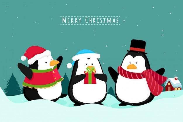 Christmas wenskaart met pinguïns