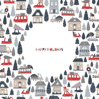 Christmas wenskaart met plaats voor tekst. huizen en auto's met geschenken en kerstbomen.