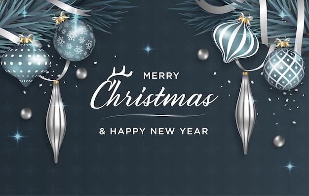 Christmas wenskaart met realistische decoratie