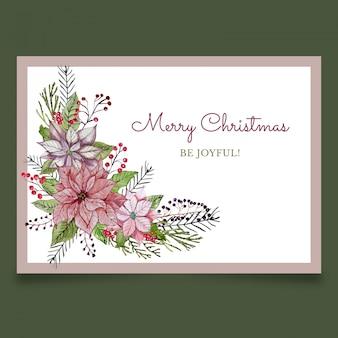 Christmas wenskaart met roze bloemen en planten van viburnum