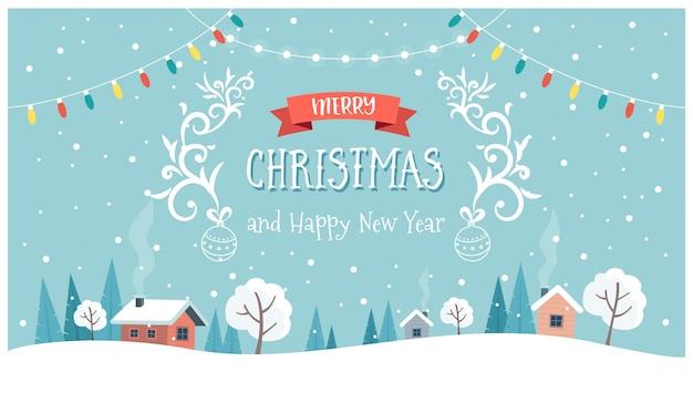 Christmas wenskaart met schattige landschap, tekst en hangende decoraties.