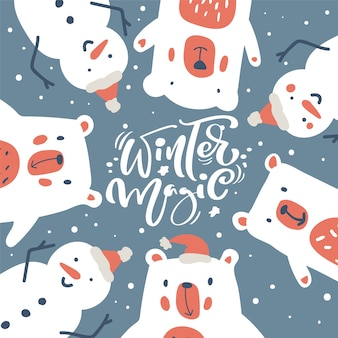 Christmas wenskaart met sneeuwpop en ijsbeer