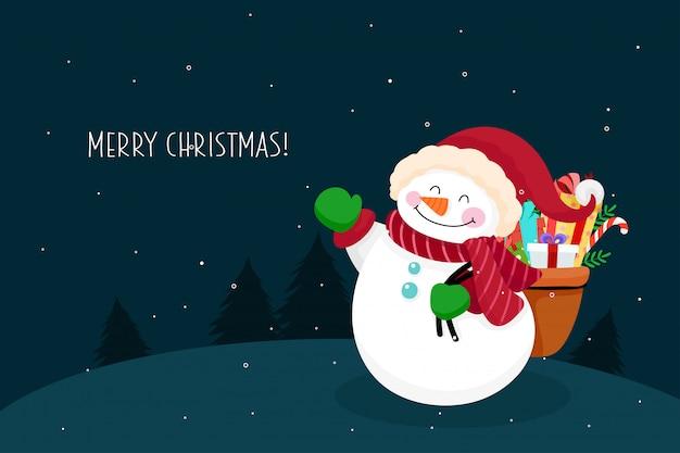 Christmas wenskaart met sneeuwpop karakter. vector illustratie