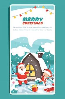 Christmas wenskaart met stripfiguren