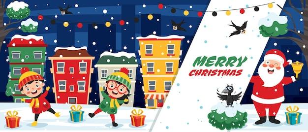 Christmas wenskaart ontwerp met stripfiguren