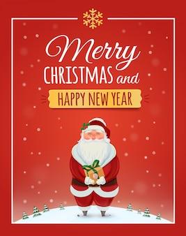 Christmas wenskaart, poster met de kerstman. . vrolijk kerstfeest en een gelukkig nieuwjaar