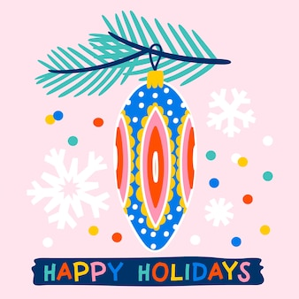 Christmas wenskaart versierd met kerstbal dennentakken en confetti roze achtergrond