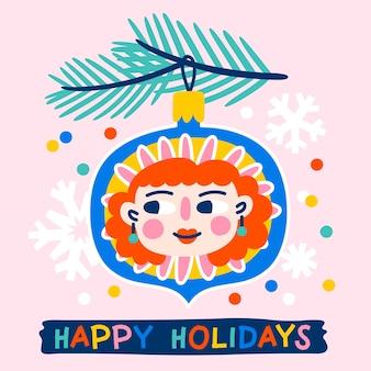 Christmas wenskaart versierd met speelgoed of kerstbal met grappige meisjes gezicht fir takken en confetti roze achtergrond