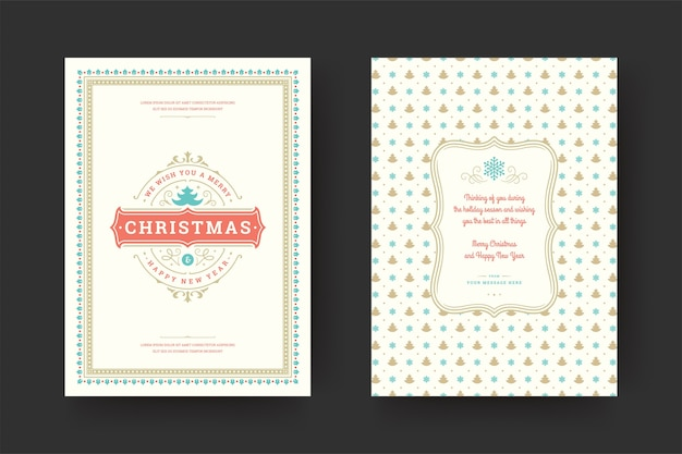 Christmas wenskaart vintage typografische, sierlijke decoratiesymbolen met wens van de wintervakantie, ornamenten en frame.