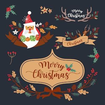 Christmas wreath-elementen en decoratieontwerp