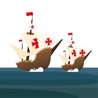 Christopher columbus schepen op de zee van amerika en ontdekkingen