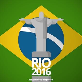 Christus de redemmer met brazilië vlag achtergrond