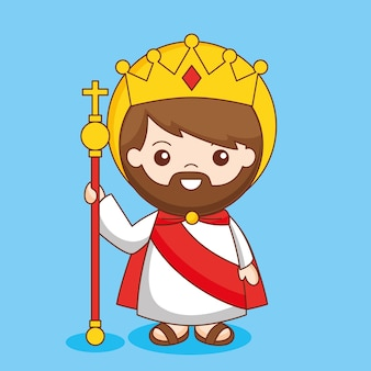 Christus koning van het universum met kroon en scepter, cartoon afbeelding