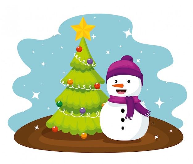 Chritsmas pijnboom en sneeuwpop dragen hoed
