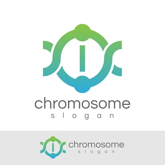 Chromosoom eerste letter i logo ontwerp