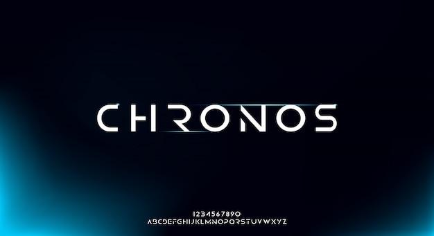 Chronos, een abstract futuristisch alfabetlettertype met technologiethema. modern minimalistisch typografieontwerp