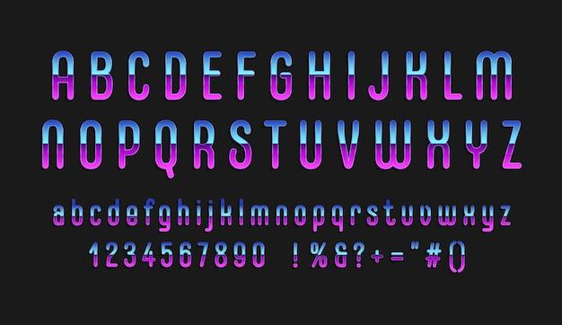 Chroom alfabet in retro stijl