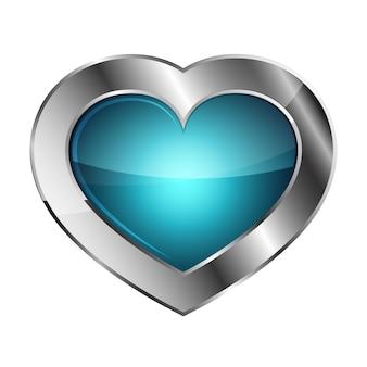 Chroom of zilver hart pictogram
