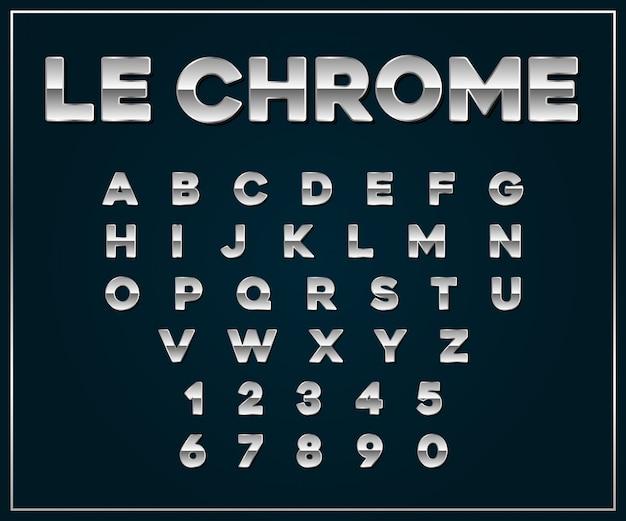 Chroom zilver metallic lettertypeset.