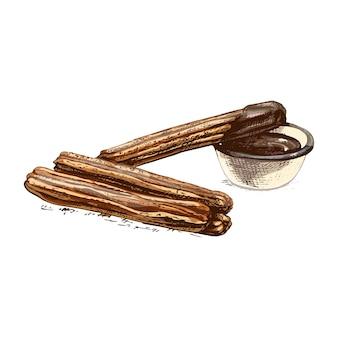 Churros en kom met warme chocolademelk. vector vintage broedeieren kleur illustratie. geïsoleerd op een witte achtergrond. hand getrokken ontwerp voor menu traditioneel spaans dessert.