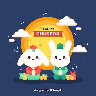 Chuseok achtergrond in vlakke stijl