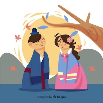 Chuseok-achtergrond in vlakke stijl