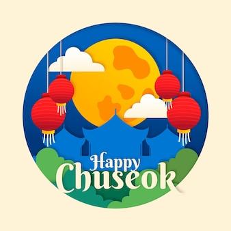 Chuseok-concept in papieren stijl