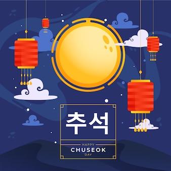 Chuseok festival illustratiestijl