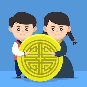 Chuseok zuid-koreaanse feestelijke ontwerpillustratie