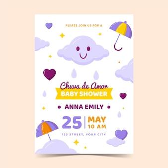 Chuva de amor baby shower uitnodiging sjabloon