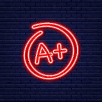 Cijferresultaat a plus. hand getekende vector rang in rode cirkel. neon-stijl. vector illustratie.