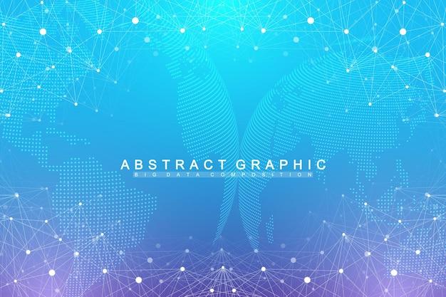 Cijfers abstracte achtergrond met aangesloten lijn en punten, golfstroom. digitale neurale netwerken. netwerk- en verbindingsachtergrond voor uw presentatie. grafische veelhoekige achtergrond. vector illustratie.