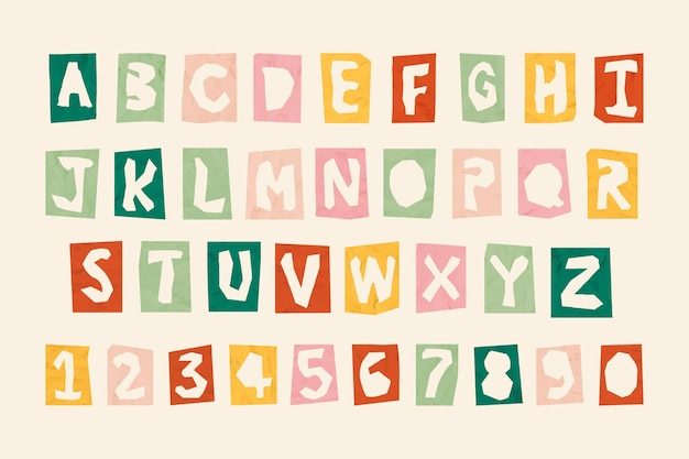 Cijfers en alfabetten typografie set