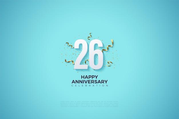 Cijfers met feestartikelen om het 26-jarig jubileum te vieren