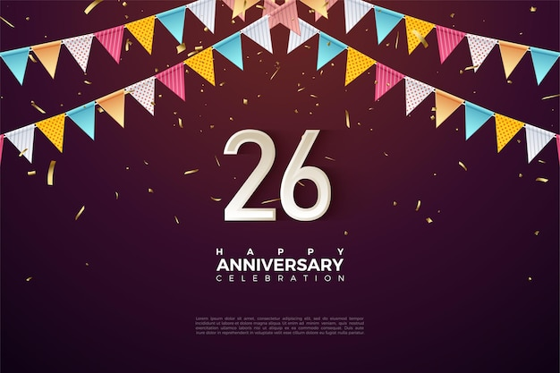 Cijfers onder de kleurrijke vlaggen om het 26-jarig jubileum te vieren