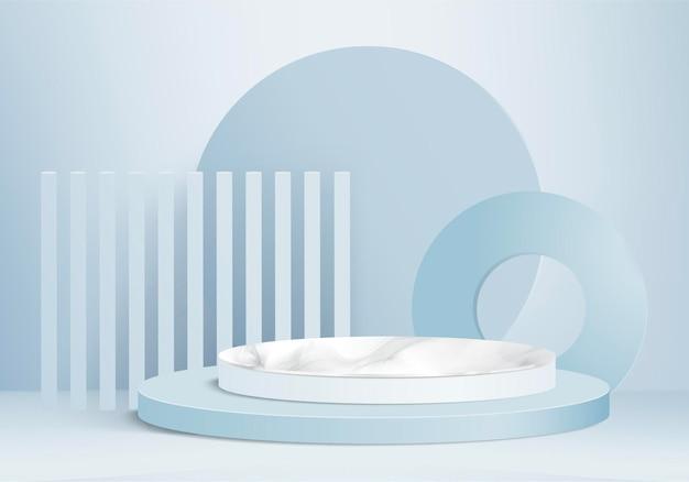 Cilinder abstracte minimale scène met geometrisch platform. zomer achtergrond 3d-rendering met podium. stand om cosmetische producten te tonen. toneelvitrine op voetstuk moderne 3d studio blauwe pastel