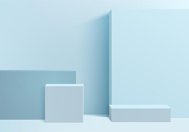 Cilinder abstracte minimale scène met geometrisch platform. zomer achtergrondweergave met podium. staan om cosmetische producten te laten zien. podiumvitrine op sokkel moderne studio blauw pastel