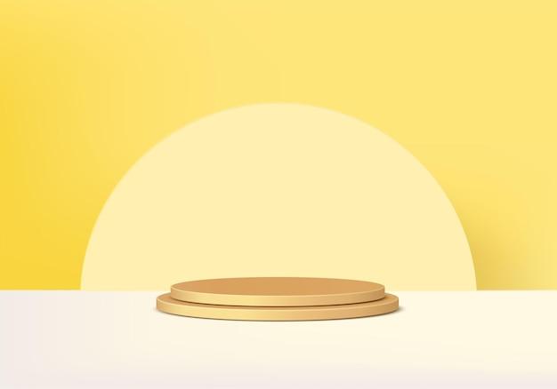 Cilinder abstracte minimale scène met geometrisch platform. zomerpodiumshowcase op voetstuk moderne 3d studio gele pastel