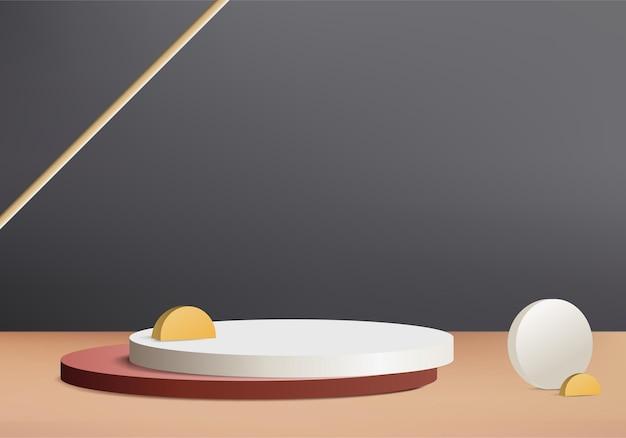 Cilinder abstracte minimale scène met kristalglas platform. 3d-rendering als achtergrond met podium. stand om de weergave van cosmetische producten te tonen. toneelvertoning op voetstuk 3d in gouden studioachtergrond