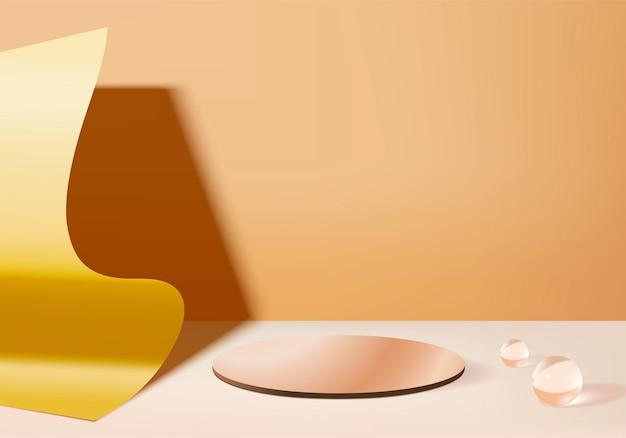 Cilinder abstracte minimale scène met platform van kristalglas. achtergrondweergave met podium. staan om cosmetische productvertoning te tonen. stadiumvertoning op voetstuk in gouden studioachtergrond