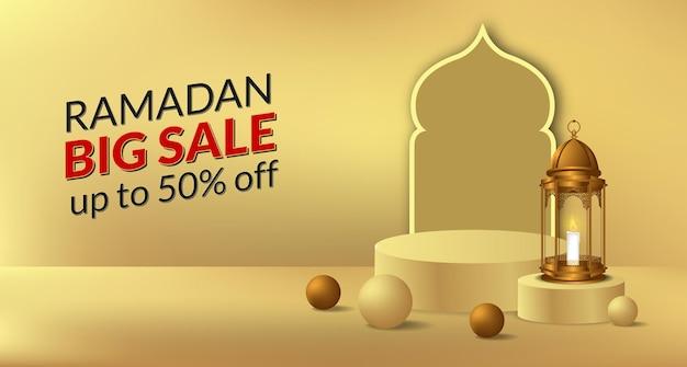 Cilinder podium productvertoning voor ramadan met illustratie van gouden lantaarnlamp en deur moskee te koop aanbieding banner sjabloon
